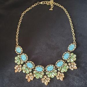 Lovely Skyline Blue Green Peach Statement Necklace